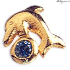 Twinkles Zahnschmuck Weissgold Delphin Gold mit Saphir